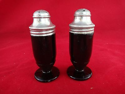 Hazel Atlas OVIDE Black Salt & Pepper Shakers