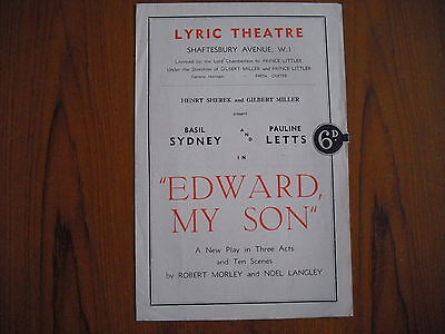 LYRIC THEATRE, LONDON - EDWARD MY SON - 1940's - BASIL SYDNEY, PAULINE LETTS