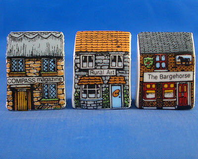 Fine China Thimbles - Set Of Three Miniature House Style - Village Life