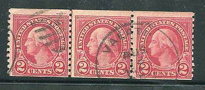 (1923-29) #599 2¢ Washington used coil line strip of 3 stamps