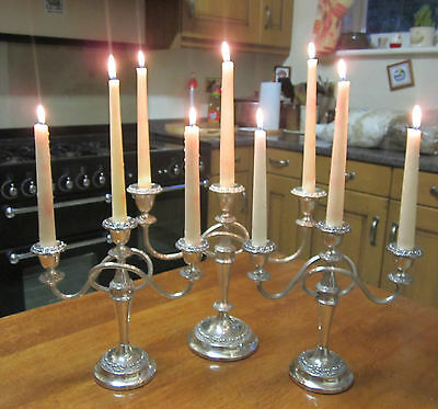 Old Antique Silver Plate Regency Style Set of 3 Candelabras English made c1960