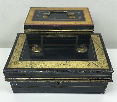 Antique Black Gold Lacquered Money Box Cash Tin & Other