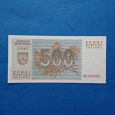 1993 Lithuania 500 Talonas, REPEATER SERIAL NUMBER, UNC