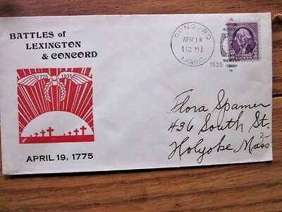 1935 Revolutionary War Battles Of Lexington And Concord Cover Concord Mass