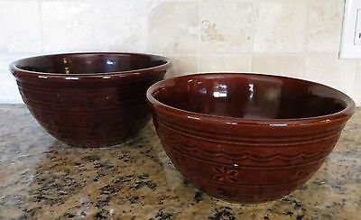"Pair Nesting Marcrest Warm Colorado Brown Mixing Bowls, 8"", 9"""
