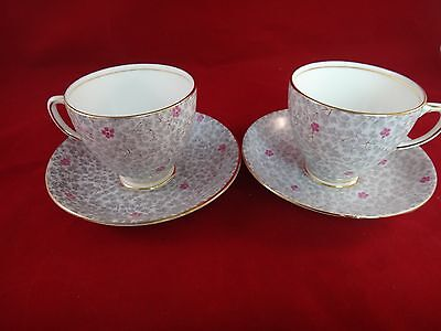 2 Vintage Sampson Smith Old Royal China England GRAY FLORAL CHINTZ Cup & Saucer