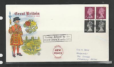 GB FDC 1971 Machin 10p booklet se tenant pane, Reading FDI