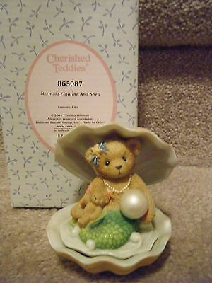 Cherished Teddies Mermaid In Shell Figurine With Pearl 2001 Mib
