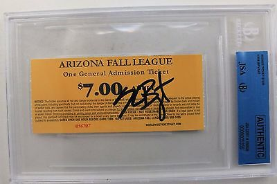 Chicago Cubs Kris Bryant Autograph Signed AZ League Ticket JSA Authentic RARE