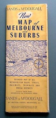 1930/40s MELBOURNE MAP by SANDS & McDOUGAL - LARGE SIZE - EX. CONDITION