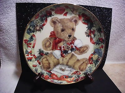 Franlin Mint Heirloom Collection Teddy's First Christmas Plate Fine Porcelain