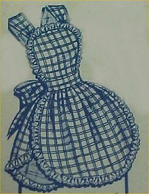 Vintage Bib Apron Full Size Pattern Ruffles 1950s Style Sewing Material Project