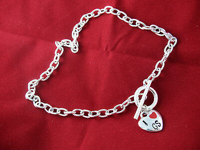 NECKLACE Girl Scouts TAG or TOGGLE 2004 I LOVE G.S. Silver GIFT Combine Ship