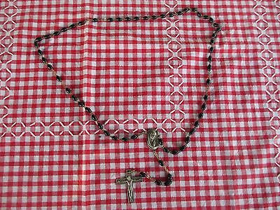Vintage Quality Black Italian Rosary Beads with silver Crucifix