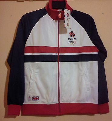 Team Gb Rio 2016 Olympics White Blue Red Official Track Top Size M Medium Bnwt