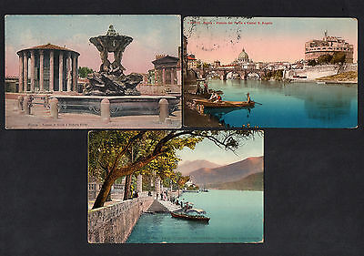 Italy Italiana 1909 & 1918 Three Real Old View Postcards With Cds Postmarks