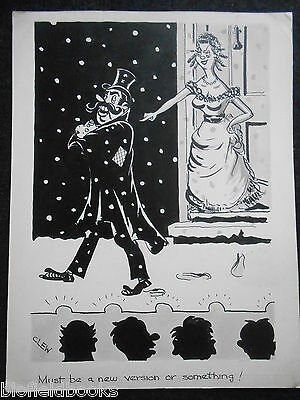 "CLIFFORD C LEWIS ""CLEW"" Original Pen & Ink Cartoon - Theatre, Stage Humour #345"