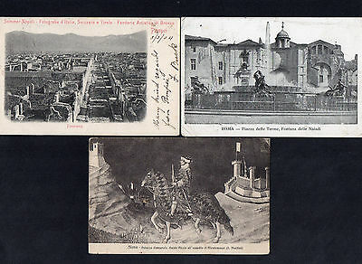 Italy Italiana 1904 & 1911 Three Real Old View Postcards With Cds Postmarks