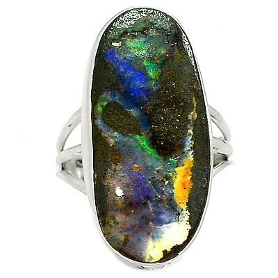 Boulder Opal 925 Sterling Silver Ring Jewelry s.10 SR210308