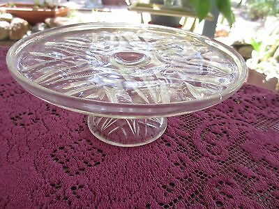 Vintage Depression Glass Cake Stand in very good condition,High Teas