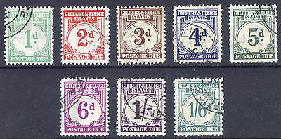 Gilbert & Ellice 1940 1d-1s Post Due, SG D1-D8, Scott J1-J8, VFU Cat £275($451)