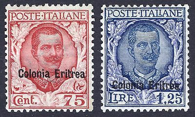 Eritrea 1926 75c & 1L25 Emmanuell III Scott 28 & 30, SG 127-128, MM/MH Cat $130