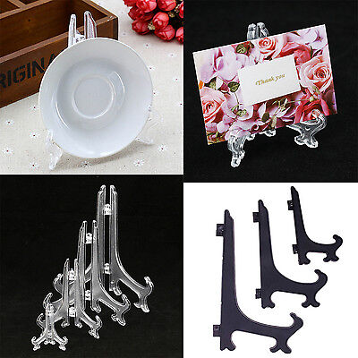 Clear Black Display Easel Stand Plate Bowl Picture Frame Photo Pedestal Holder