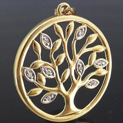 Round 8 DIAMOND set 'Tree of Life' 9ct Solid Yellow GOLD PENDANT estate