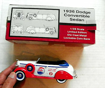 "1995 Liberty ""pepsi-Cola"" Die-Cast 1936 Dodge Convertible Sedan With Coin Bank"