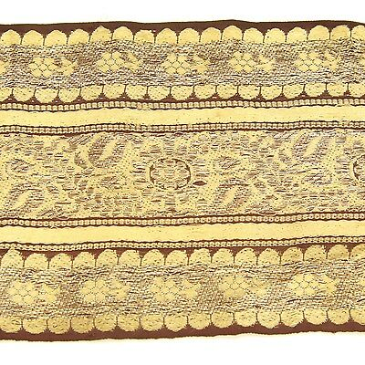 2m (6 foot) LONG Old Antique India SARI Saree TRIM Embroidered Textile 652k8