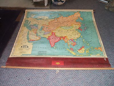 Country School House Map Vintage Roll Down Asia w/ Holder