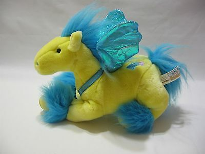 """Animal Alley Pegasus Horse Wings Plush Yellow Blue Stuffed Toy 11"""" Soft Cute"""