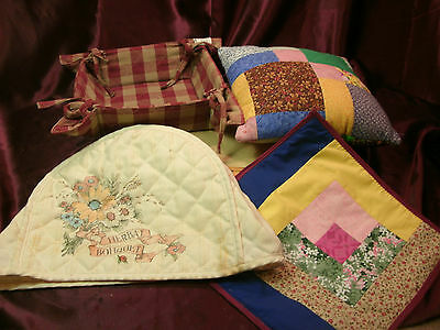 4 Embroidered/Quilted Toaster Cover/placemat/small pillow/basket-free ship