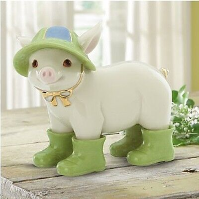Lenox Wally in Wellies Pig in Raincoat and Boots Figurine NEW IN BOX