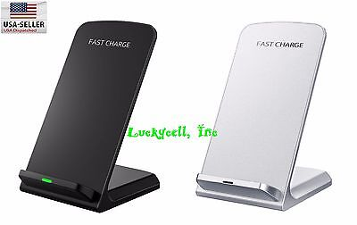 2 Coils Qi Wireless Fast Charger Charging Stand Dock for Samsung Galaxy / iPhone