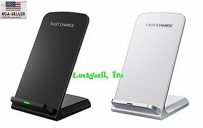 3 Coils Qi Wireless Fast Charger Charging Stand Dock for Samsung Galaxy / iPhone