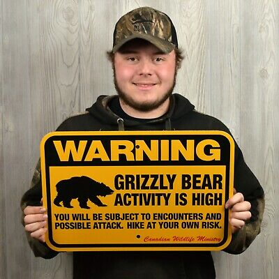 GRIZZLY BEAR WARNING Sign, traps trapping hunting 12x18""