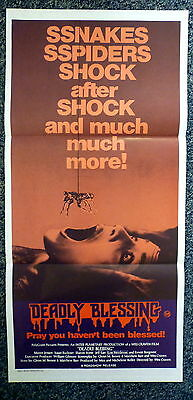 DEADLY BLESSING Original 1980s Horror Daybill Movie Poster Sharon Stone