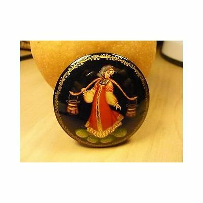 Palekh Russian Lacquer Fairy Tales Black Brooch Lady Water Pail Red Dress SIGNED