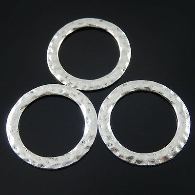Vintage Silver Tone Round Ring Circle Alloy Charms Pendants Finding 11pcs 52037