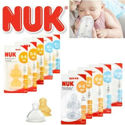 NUK First Choice Baby Milk Formula Feeding Bottle Silicone / Latex Teats S,M,L