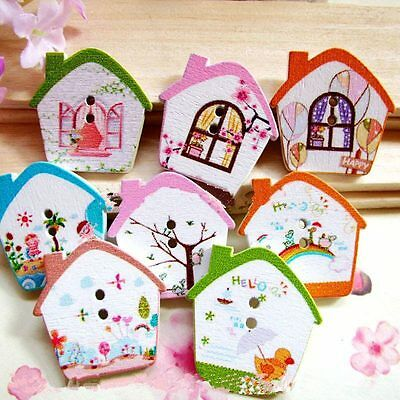 100pcs Mixed Colored Flower House Wood Button Sewing Craft DIY For Kids