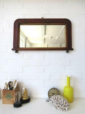 Vintage Large Art Deco Bevelled Edge Wall Mirror with Wood Marquetry Frame