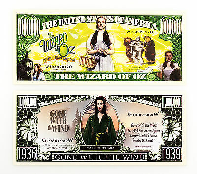 Set of 2 diff. Gone with the Wind & The Wizard of Oz US fantasy paper money