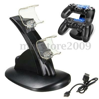 Dual USB Chargeur Station Charge Rapide Dock Support Pour Manette Sony PS4 SLIM