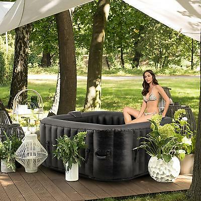 Jacuzzi gonflable carré SPA relax bain hydromassage chauffé hot tub 4 personnes
