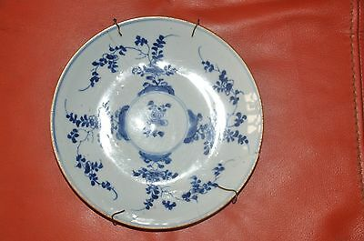 Ancient Plate Chinese Painted Blue , Qing  , Damages