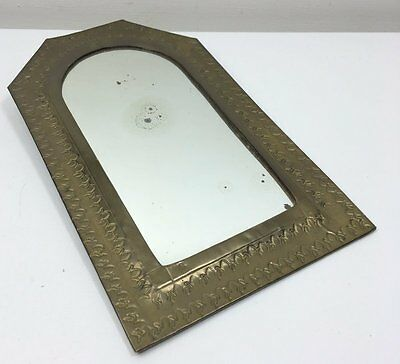 Vintage Embossed Brass Framed Mirror - Small Wall Hanging