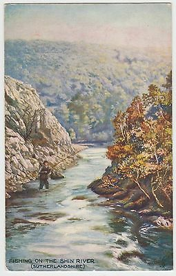 Fly Fishing, Shin River:~1910 (Est) Tuck 'Oilette' PPC, GVG Used 1925