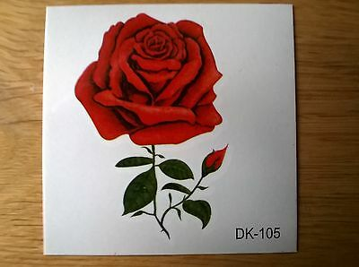 RED ROSE TEMPORARY TATTOO (BRAND NEW) 60mm X 60mm DK105